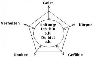 Grafik: Vermittlung einer grundlegenden Haltung: Geist, Körper, Verhalten, Denken, Gefühl